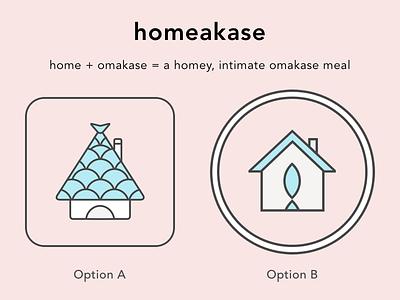 Homeakase Logo Concepts sushi restaurant dining fish logo