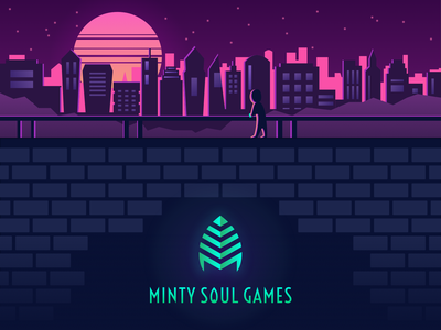 Minty Soul Games - Website mint drive movie blade runner branding dystopia neon indie games illustration synthwave website games