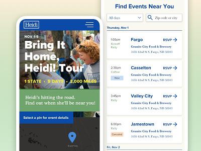 Senator Heidi Heitkamp's Reelection Campaign Mini Site tech political campaign politics senator politician website ui ux schedule calendar tour responsive