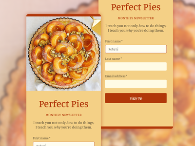 Daily UI 001 - Sign up for an email newsletter food signupform signup newsletter pie dailyui 001 dailyui