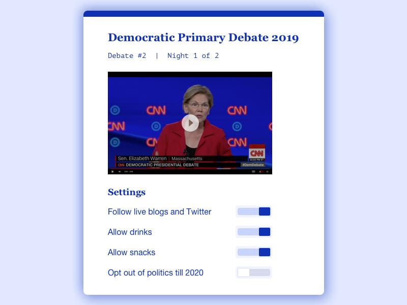 Daily UI 007 - Settings page uidesign switches toggle us politics demdebate politics settings dailyui sketch