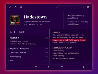 Daily UI 009 - Music player music player hadestown musicals uxdesign music app purple darkmode spotify music uidesign sketch dailyui