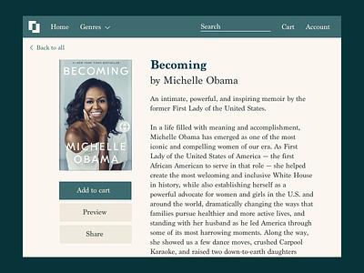 Daily UI 010 - Social share button michelle lana ecommerce bookstore becoming michelleobama politics uidesign sketch website dailyui