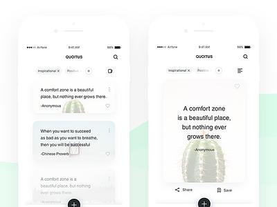 Quoitus content blog reading bookmark interface quotes ux ui minimal clean app