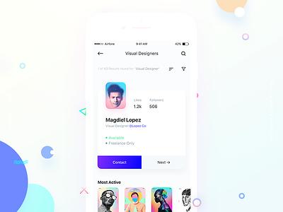Reppr Profile Search user clean app card search social mobile interface ux ui xd profile