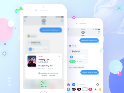 Buy in Chat face id clean chat ios iphone x ux ui app shop ai chatbot bot