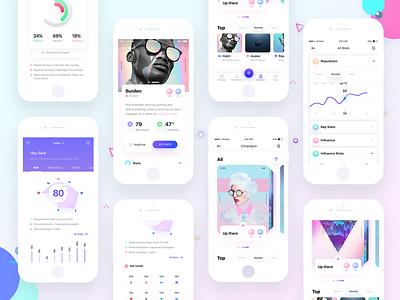 Reppr Screens dashboard ios ux ui social chart data profile stats card graph app