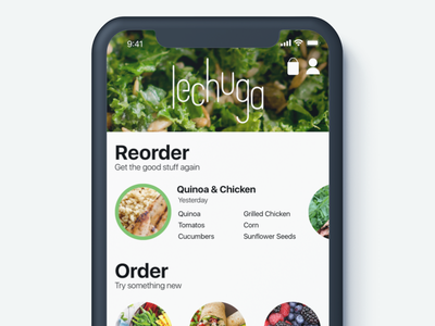 Lechuga - Food Ordering iphonex iphone ios branding lechuga mockup salads ui food