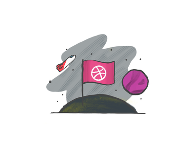 Planet Dribbble rocket spaceship outerspace ruby exploration space outer planet