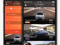 Car rental interface design for iOS