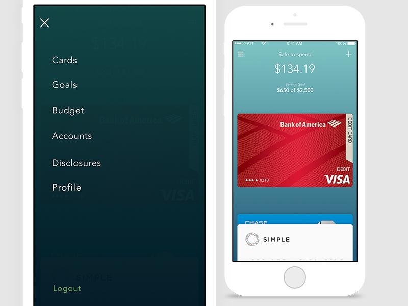 Leaf - Menu and Cards navigation menu finance ui mobile ios