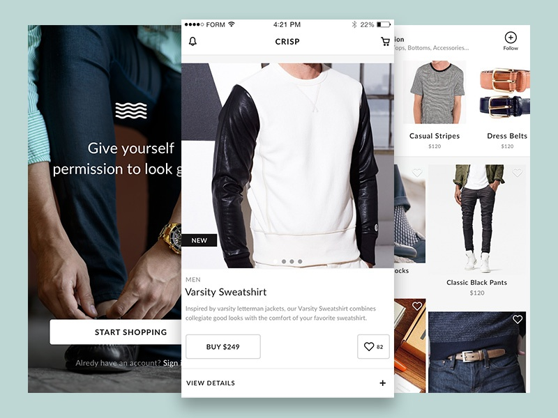 Crisp Free Ecommerce UI Kit for Sketch ecommerce mobile ios free ui kit sketch