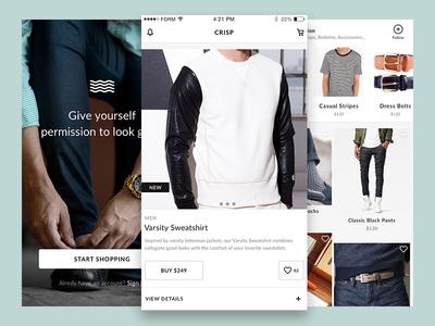 Crisp Free Ecommerce UI Kit for Sketch ecommerce mobile ios free ui kit sketch