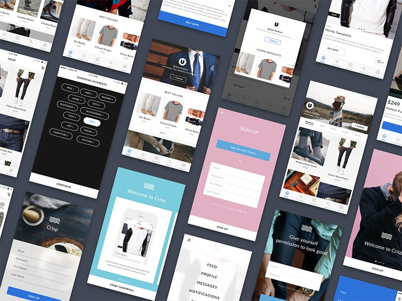 Crisp Ecommerce UI Kit for Sketch walkthrough product page sign up login product design sketch ux ui mobile ios commerce ui kit