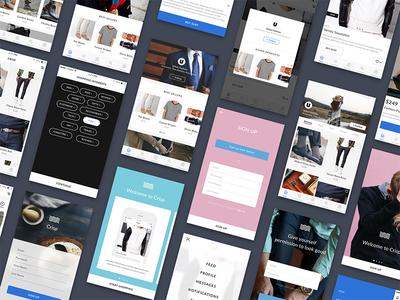 Crisp Ecommerce UI Kit for Sketch walkthrough product page sign up login product design sketch ux ui mobile ios commerce ui kit