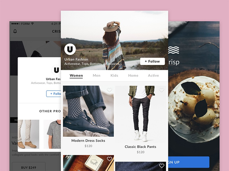 Crisp Profile page ui kit sketch ecommerce ios mobile ux ui profile