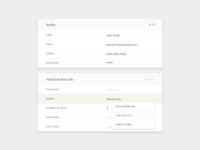 Profile and preferences form UI