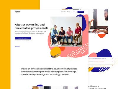 Heyfam landing page product design job board job illustration pattern marketing ux ui landing page
