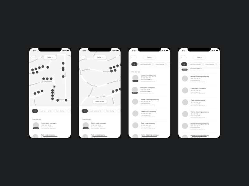 Early stage iOS exploration list view maps pin location ios wireframe