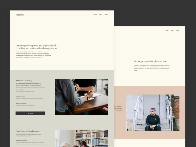 Humanik about page elegant minimal clean landing page about