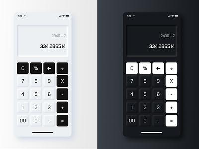 Neumorphic Calculator (Light/Dark) calculator vector minimal mobile ui lighting dark light neumorphism neumorphic design dailyui