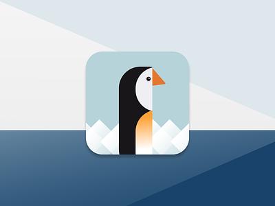 Penguin App Icon penguin icon logo vector mobile app ux flat ui minimal design dailyui