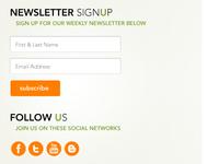 Newsletter signup + Social media