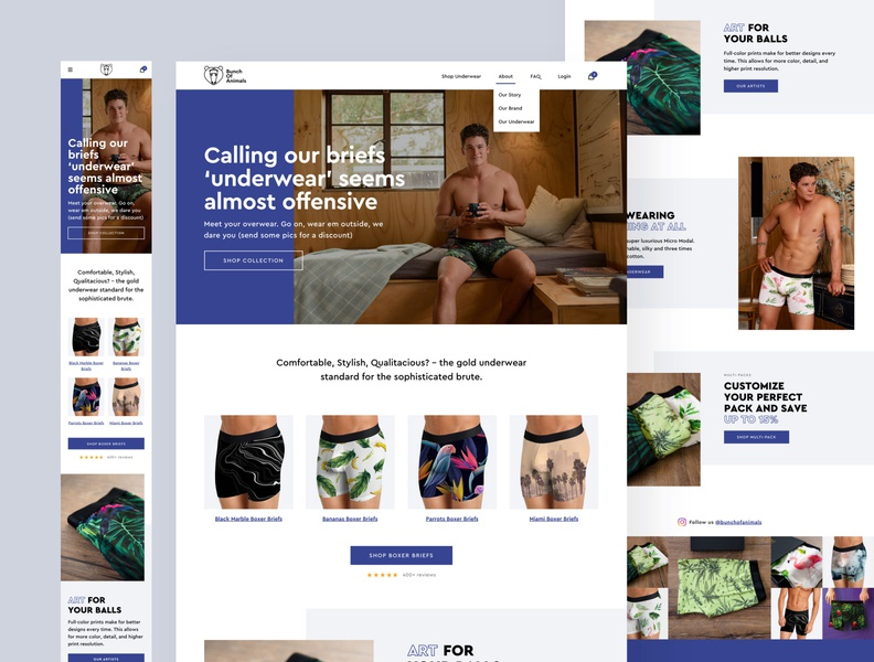 Bunch of Animals Underwear product page shopify ecommerce boxer briefs underwear