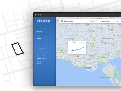 Data Analytics for Realtors real estate realtor analytics data visualization graph map google map search app