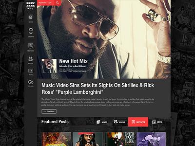 Hot New Hip Hop Music 3magine design ui ux dark landing portal rick ross rap hip-hop