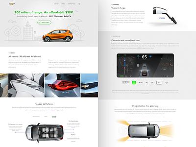 Chevrolet Bolt website redesign auto car clean ui ux landing electric bolt chevrolet