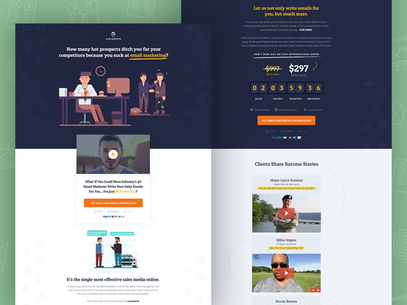 Landing page upsell video ui ux illustration design landing