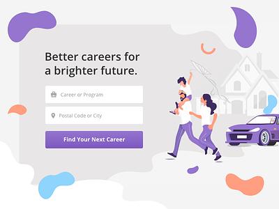 TrainingPlaces.ca re-design portal form purple flat illustration design landing