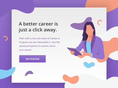 Career Search careers purple jobs results search landing illustration
