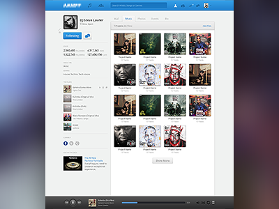 User Profile - Music social network community music profile browse song album cover hip hop blue grey white landing ui ux