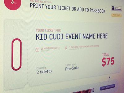 Ticket ui webdesign music artist genre profile avatar hip-hop rap share button vote fans purchase landing ticket pasbook step ux