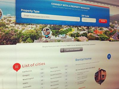 Property Management Portal property real estate home house condo portal search landing ui ux design blue orange