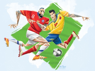 2019 Copa America football soccer copa america sports illustrated sports editorial illustration stylized illustration design digital art portrait illustration portrait art illustration
