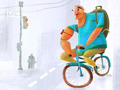 Rise and Grind ipad bright vector texture procreate bike man character design character art digital art sketch illustration illustrator