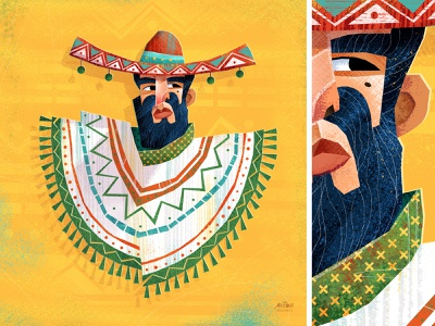 Sombrero portrait cintiq art direction digital art artwork vector illustrator design art illustration