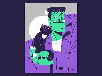 Frankie process work portrait procreate digital art ipad pro illustration illustrator cat frankenstein halloween
