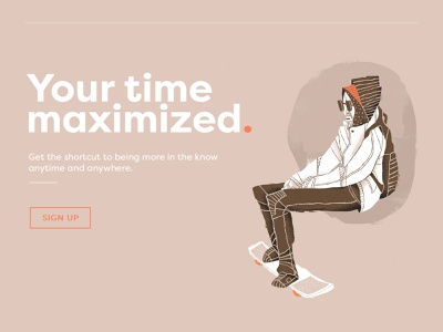 Maximize Your Time digital art application web section webpage lifestyle urban hero image header skater illustration web design website app time