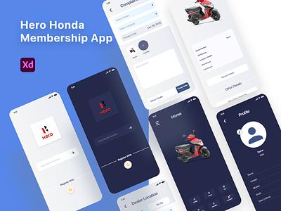 Hero Honda Membership App Redesign ux userinterface user experience uiux typography travel app productdesign mobile ui mobile app clean membership app booking app app ui ui  ux