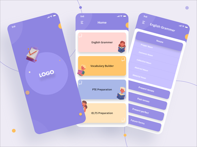 English Learning App app design iphone xd ui design ux ui learning app learning elearning app