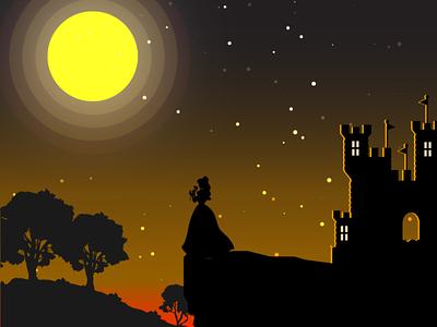 Illustration night illustration princess night