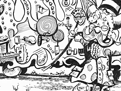 Submission Machine illustration pen ink wip