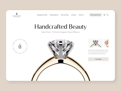 Simon West Fine Jewellery - Landing page shopify marketing shopify store shopify plus shopify ui engagement ring jewellery design minimal typography webdesign wedding ring wedding fashion ecommerce design designproduct ecommerce jewelery