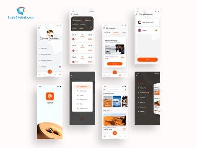 Globist Travel App motion design graphic design food chat ios minimal flat animation web app icon ux typography branding vector ui logo design illustration