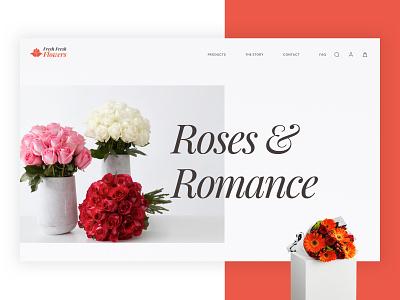Fresh Flowers eCommerce Website Design uiux fresh web design ecommence flowershop website design minimal flat web ux typography branding vector ui design illustration