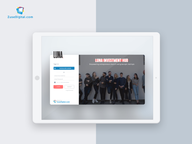 Luna Investment Portal login screen login page login portal investment minimal flat web app icon ux typography ui design